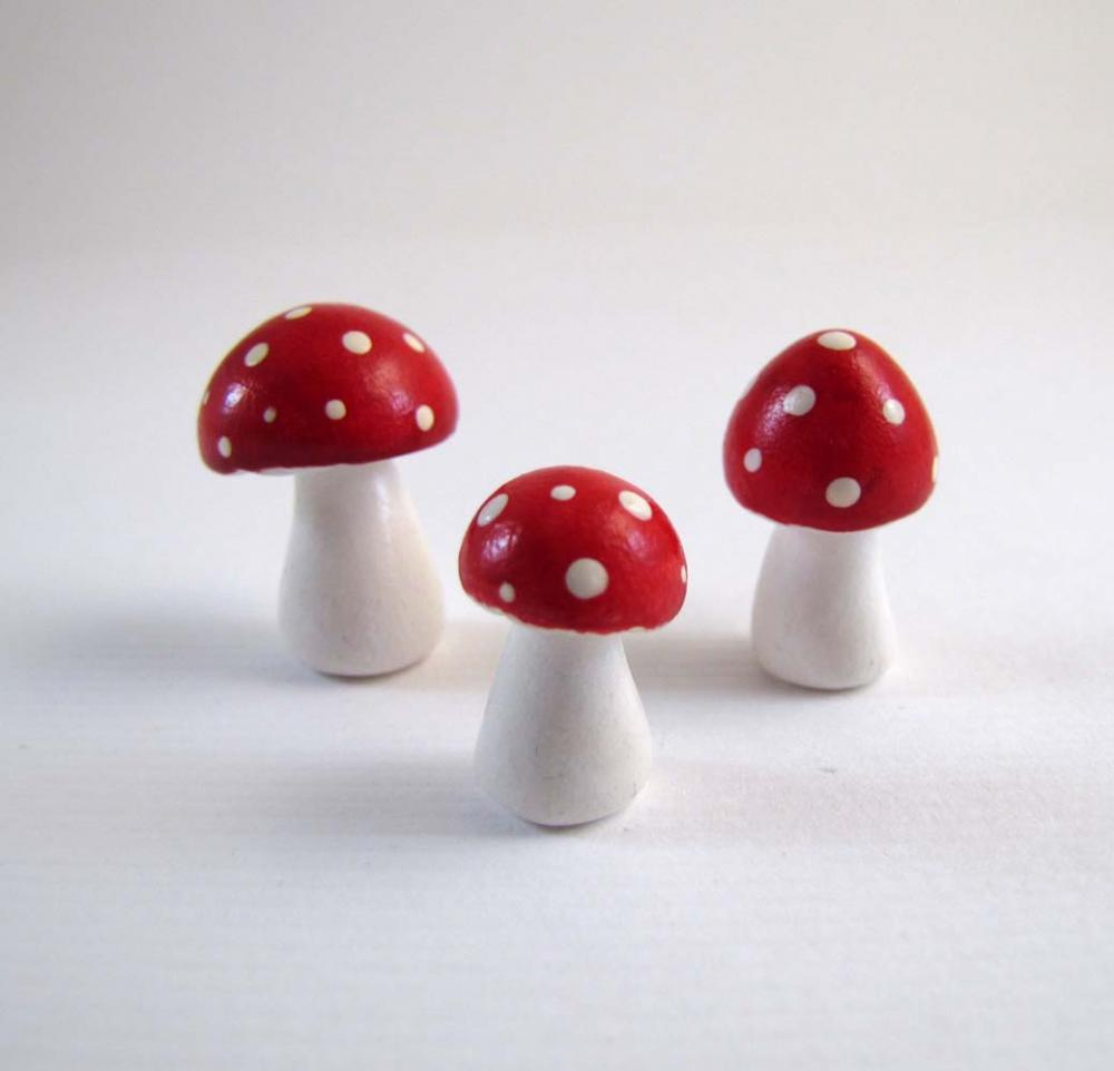 Tiny Red Trio of Toadstools Figurine or Terrarium Decoration Made to Order