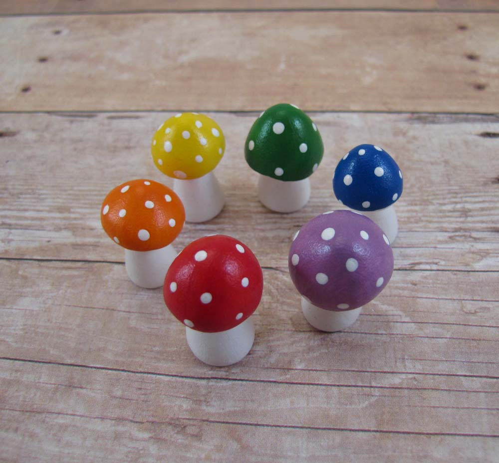 Tiny Rainbow Toadstool Fantasy Figurine Set - Made to Order